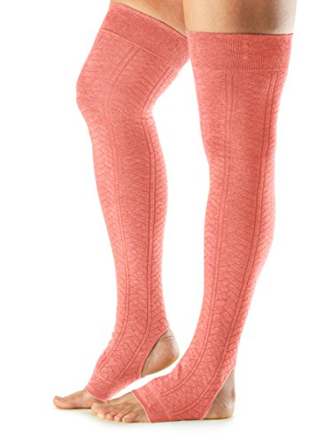 ToeSox Women's Wool Thigh High Ribbed Knit Leg Warmers (Tangerine) One Size (Wool Tangerine)