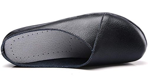 SNIDEL Women's Leather Loafers Slip on Flats Mule Walking Slippers Closed Toe Slide Sandals for Autumn Black9 B (M) US by SNIDEL (Image #1)