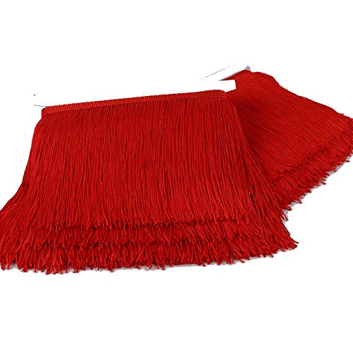 Heartwish268 Fringe Trim Lace Polyerter Fibre Tassel 8inch(″) Wide 10 Yards Long for Clothes Accessories and Latin Wedding Dress and DIY Lamp Shade Decoration Black (Black) (Red) - Tassel Fabric Black