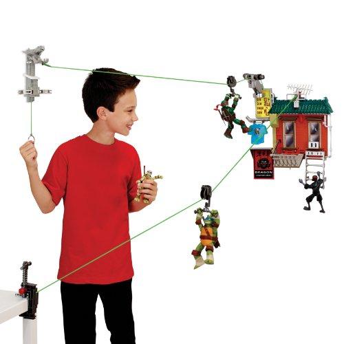 Teenage Mutant Ninja Turtles Z-Line Fire Escape Free Fall Playset (Tmnt Zip Line)