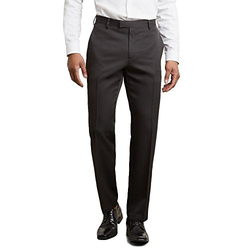 Kenneth Cole REACTION Men's Urban Heather Slim Fit Flat Front Dress Pant, Black, 30Wx30L by Kenneth Cole REACTION