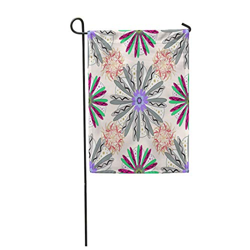 (Semtomn Garden Flag 12x18 Inches Print On Two Side Polyester Colorful Abstract Floral Neutral White and Gray Pattern Cute Mille Fleurs Bloom Home Yard Farm Fade Resistant Outdoor House Decor)