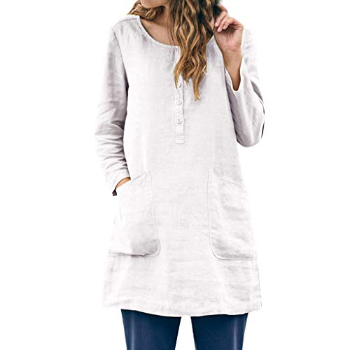 TANGSen Women Solid Color Shirts Round Neck Casual Pocket Button Tops Ladies Linen Fashion Plus Size Blouse - Bed Lindsey Twin