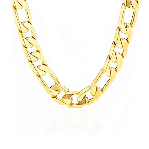 Mens 14k Gold Plated 10mm Italian Figaro Link Chain Necklace (24 INCH) -