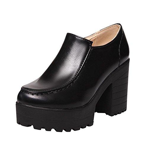 Carolbar Womens Zip Platform Retro Vintage Chunky High Heel Ankle Boots Black 6fndU7