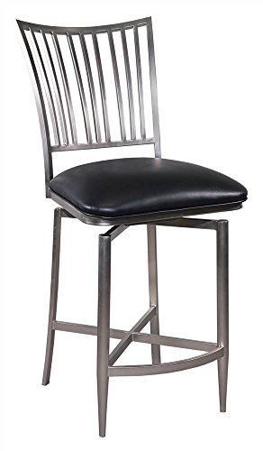 Chintaly Imports Ashtyn Memory Return Swivel Counter Stool, Nickel Plated/Black PVC