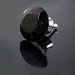 Tecrio 40mm Black Crystal Glass Diamond Shape Cabinet Knob Drawer Cupboard Pull Handle 10pcs-Pack