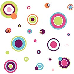 Lunarland CRAZY POLKA DOTS 31 Wall Decals Green Pink Purple Blue White Room Decor Stickers