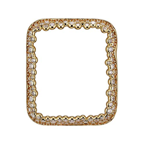 18K Yellow Gold Plated Champagne Bubbles Jewelry-Style Apple Watch Case with Cubic Zirconia CZ Border - Small (Fits 38mm iWatch)
