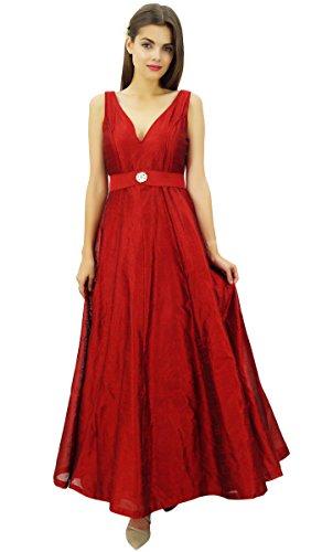 Hochzeit Brautjungfer Maxi V Frauen Bimba Kleid mit Prom Ausschnitt Kastanienbraun Ausgestelltes Kleid elegante lange wIaRXq