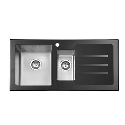 JASS FERRY Stainless Steel Premium Black Glass Kitchen Sink 1.5 One ...