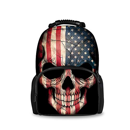 Quilted Handbag Traveler Purse (OKAYDECOR American Flag Skull Printed Felt Backpacks Children School Bookbags)