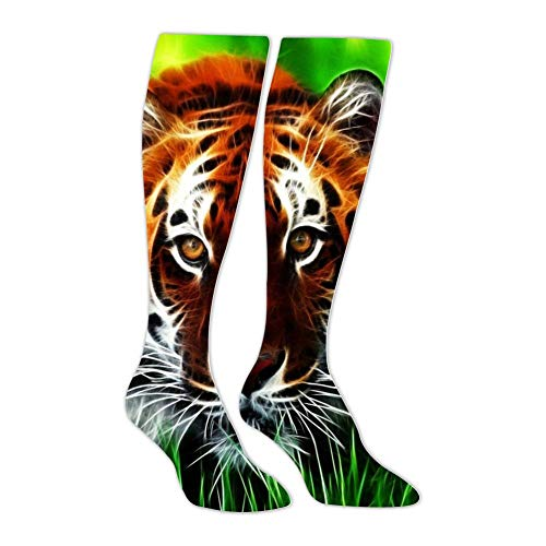 Green Grass Tiger Unisex High Knee Socks 3D Printed Warm Long Stockings Thigh Socks for Men Women -