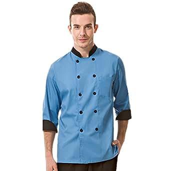 Cheflife colored unisex chef uniforms long sleeve coat blue