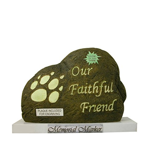Our Faithful Friend Dog Memorial Stone Marker with Engraveable Plaque
