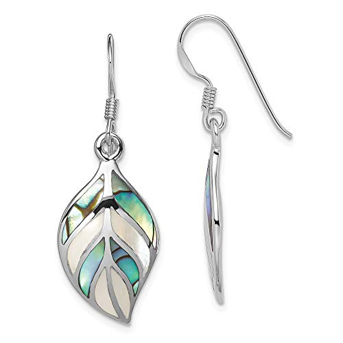 Mia Diamonds 925 Sterling Silver Solid Polished Leaf Mop and Abalone Dangle Earrings (36mm x 13mm)