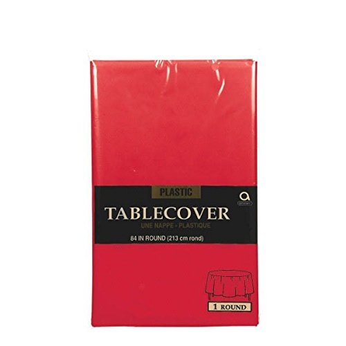 Amscan Reusable Plain Round Table Cover Party Tableware, Apple Red, Plastic, 84