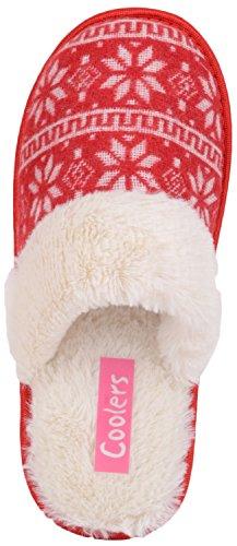 Donne Scivolano Su Pantofole / Muli / Scarpe Da Interni Con Disegno A Fiocco Di Neve Rosso