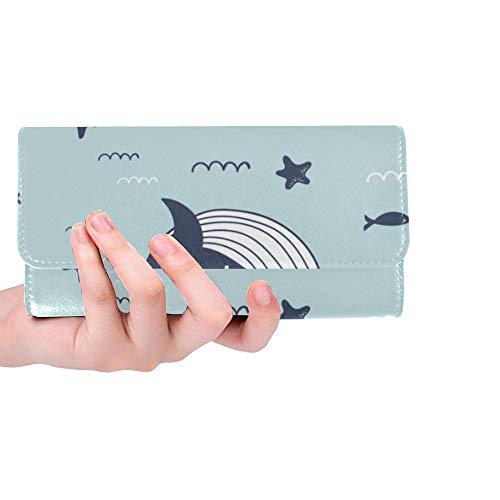 4fec206c4fee Unique Custom Sea Life Whales Dolphins Sea Stars Women Trifold Wallet Long  Purse Credit Card Holder Case Handbag