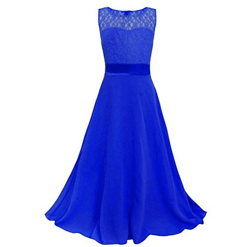 LPATTERN Big Girls Chiffon Lace Flower Long Dress Wedding Pageant Formal Dresses Birthday Party Gown Navy Blue 14-15years Old (Blue Old Dress Navy)