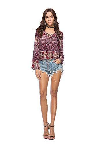 Manches Automne Tops MWPT V Blouse Impression Chemisier Col Shirt Chic Longues T Casual Mousseline Printemps Tunique Femme qBtaxS6nB