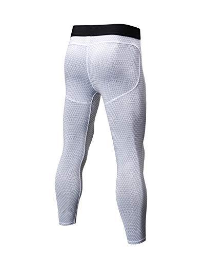 Base 3 Layer Bianco 4 Leggings Corsa Da Pantaloni Compressione Traspirante Uomo Calzamaglia gqwEvxHnz