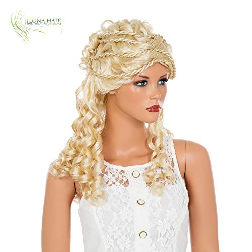 Princess Wig Blonde or Brown Long Curly Doll Hair with Braids Twists for Costume (613) -