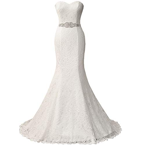 HUICHENGYAO Women's White Sweetheart Lace Body on Evening Gown 20W