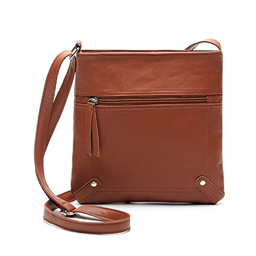 Messenger Brown Leather Cross 23 Women's 25cm Handbag Body Satchel Dark Bag Tongshi Shoulder Pu UAqxzAT