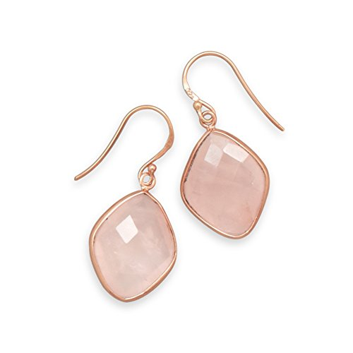 Silver Faceted Rose (Dyed Rose Quartz Earrings Faceted with Rose Gold-plated Sterling Silver)