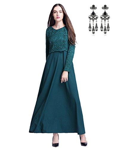 MODETREND Mujer 2017 Moda Nuevo Vestidos Túnicas de Encaje Banquete Vestido Largo Verano Verde