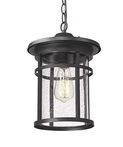 Outdoor Pendant Lighting, Bestshared1-Light Outdoor Hanging Lantern Light Fixtures for Porch, Farmhouse Style Exterior Porch Lights with Seeded Glass