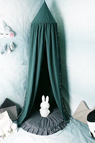 Princess Bed Canopy Mosquito Net for Kids Baby Crib, Round Dome Kids Indoor Outdoor Castle Play Tent Hanging House Decoration Reading nook Cotton Canvas Height 240cm/94.9 inch (Green)