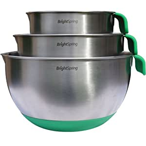 BrightSpring Mixing Bowls - 3-piece Stainless Steel Set - Rubber Bottom, Measurements, Handle & Spout - Recipe eBook