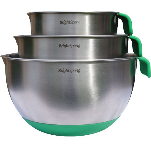 BrightSpring Mixing Bowls - 3-piece Stainless Steel Set - Rubber Bottom, Measurements, (Lp Large Steel Bottom)
