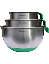 PickUp BrightSpring Mixing Bowls - 3-piece Stainless Steel Set - Rubber Bottom, Measurements, Handle & Spout - Recipe... opportunity