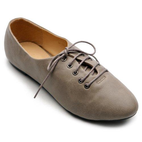 Ballet Oxfords - Ollio Women's Ballet Flat Shoe Lace Up Multi Color Oxford M1951(6 B(M) US, Grey)
