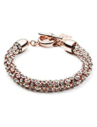 "Anne Klein""Classic Rose"" Rose Gold-Tone Crystal with Toggle Closure Tubular Bracelet"