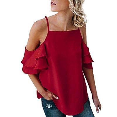 iDWZA Womens Summer Off The Shoulder Short Sleeve Blouse Ruffles T Shirt