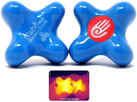 Sublime (Sky)(Set of 2) Synergy Stone - Contoured Hot Stone Massage Tools - Deep Heat for Muscle Tension Relief - Relaxing and Therapeutic - Ultra-Smooth for on Skin with Oil or Over Clothes
