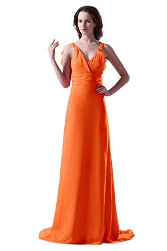 Bridal_Mall - Robe - Trapèze - Sans Manche - Femme -  orange - 46