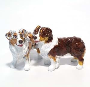 Australian Shepherd Dog Ceramic Figurine Salt Pepper Shaker 00016 Ceramic Handmade Dog Lover Gift Collectible Home Decor Art and Crafts