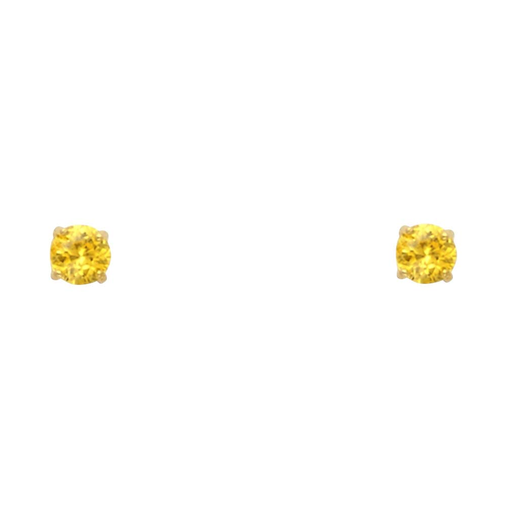 November Wellingsale 14K Yellow Gold Polished 3mm Round Birth CZ Cubic Zirconia Stone Solitaire Basket Style Prong Set Stud Earrings With Screw Back
