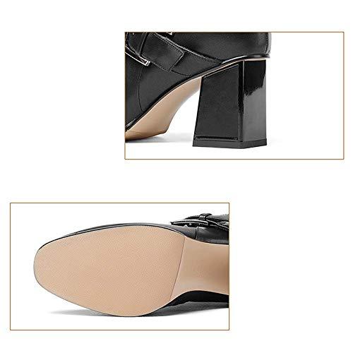 confort femmes tête pour Zpedy glissière chaussures fermeture talons hauts orange bottines tempérament carrée mode à UPqPEwt5x