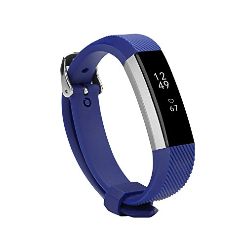 Newest Fitbit Alta HR and Alta Band With Metal Clasp, BeneStellar Silicone Replacement Band for Fitbit Alta HR and Alta (Classic) (Navy 1 Pack)