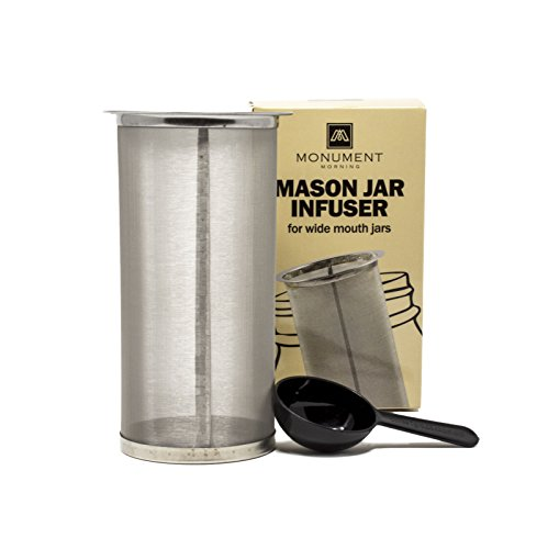 Mason Jar Cold Brew Infuser Filter   Coffee and Tea Maker   At Home Infuser for Coffee,Fruit Drinks, Nut Milk   Included Spoon   304 Stainless Steel   150 Micron Mesh   Fits All Large Mouth Jars