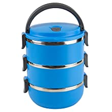 Home Basics SC45579 3 Tier Leak-Proof Stainless-Steel Lunch, Insulated Tiffin Food Container Storage Box Carrier for Adult Kids Work Students, Blue
