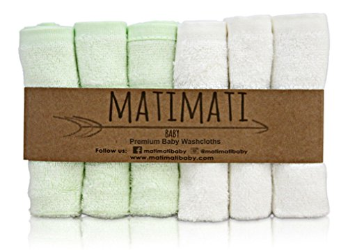 "(Matimati Rayon From Bamboo Baby Washcloths (6-pack) - Soft & Absorbent Towels For Baby's Sensitive Skin - Perfect 10""x10"" Reusable Wipes - Excellent Shower / Registry Gift)"