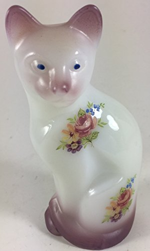 Fenton Glass Figurines - Fenton Art Glass Stylized Cat - Airbrushed & Decorated - Rosso Exclusive - USA (Airbrushed Mauve w/ Floral)
