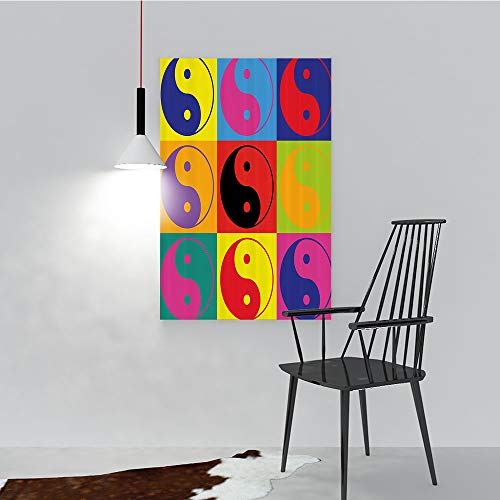 Wall Art Painting Frameless Pop Yin Yang Signs Hippie Style Eastern Asianatis Peace Posters Wall Decor Gift W24 X H36